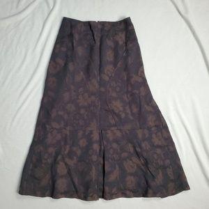 J.Jill Maxi Brown Floral Cotton Wool Blend 2P